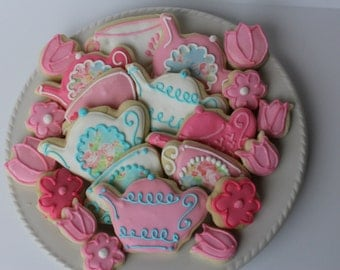 Tea Party Sugar Cookies, bridal shower, cookie favors, Mother's Day tea, tea party favors, tea party birthday, tea party baby shower, tea pa