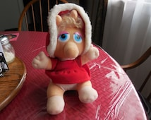 Vintage 1980s Stuffed Baby Miss Piggy 1987 Henson Associates Toy Pig Muppets Character