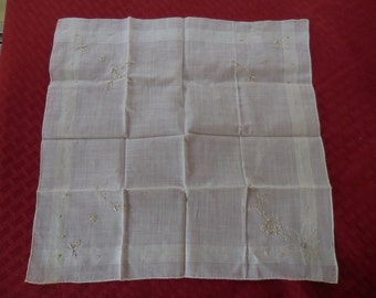 Vintage Off White Handkerchief Something Old Embroidered Flowers 1950s to 1960s Delicate Feminine