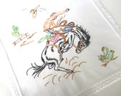 Hand Embroidered and Crocheted Vintage Dresser Scarf Table Runner, Cowboy on Bucking Bronco Horse
