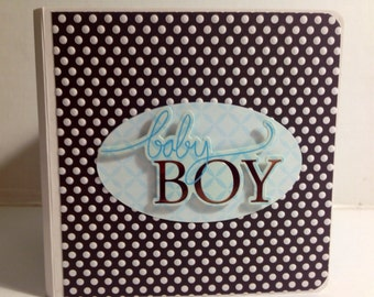 Baby Boy scrapbook premade chipboard Board Book mini album - 5x5