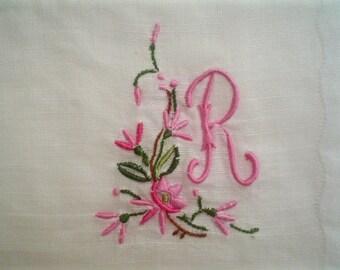 Monogram R Hankie with Pink Flower Madeira Embroidery Vintage Handkerchief