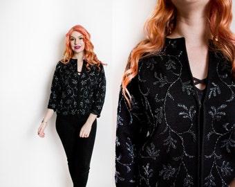 Vintage 1960s Sweater - Black Wool Knit Beaded Embellished Cardigan 60s - Large / Medium