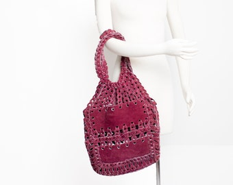 Vintage 1960s Purse - Magenta Suede Leather Loop Hobo Bag Hippie Tote