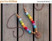 FLASH SALE The Double Rainbow - Breastfeeding Necklace - Oak Wood