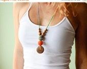 FLASH SALE The Best Babywearing Necklace - orange and green mix - oak wood