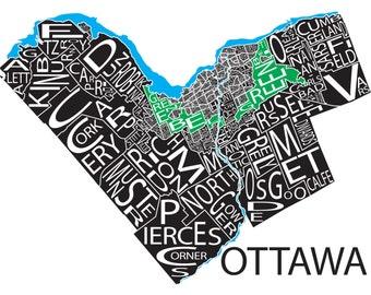 Typographic Map of the City of Ottawa, Ontario