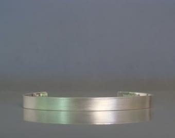 Sterling silver mens cuff bracelet, Matte cuff bracelet, Mens jewelry