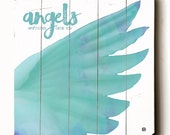 Wooden Art Sign Planked Angels Watching Over You Typography Hope Angel Wall Art