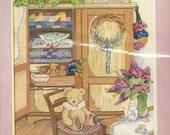 80s Teddy and Quilt Cabinet Counted Cross Stitch Kit Designed by Debra Jordan Meyer NIP Kit Complete Printed Design Birthday Gift for Her