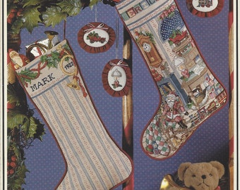 1980s Cross Stitch & Country Crafts Magazine July Aug 1988 Vintage Counted Cross Stitch Christmas Stockings