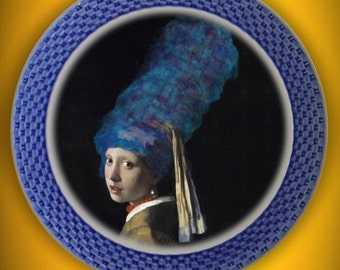 Marge In A Pearl Earring ..Up-Cycled Antique Plate