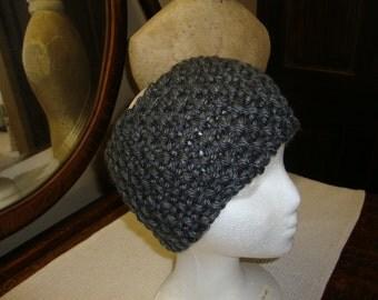 Hand Knitted Headband in Grey.