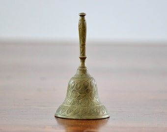 Vintage Brass Etched Bell, Solid Brass Bell, Desk Decor, Brass Decor, Paper Weight, Gift for Teacher, School Room, Made in India