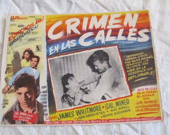 Vintage Spanish Mexican Movie Lobby Card Poster - Crimen en las Calles - Crime in the Street