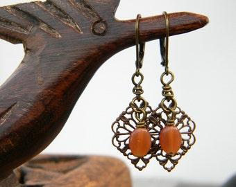 Filigree earrings brass burnt orange dangle earrings beaded jewelry simple everyday earrings