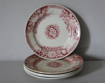 Antique French Faience Transferware Plate  Sarreguemines Jardiniere Red 1895