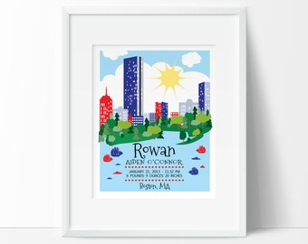 Boston baby, Boston skyline print, personalized baby gift, nursery decor, birth stats, wall art baby names, printable,  Boston Mass