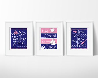 Pink Nautical nursery, No Wake Zone, nautical baby girl, pink and navy nursery, no wake zone sign, nursery printables, INSTANT DOWNLOAD,
