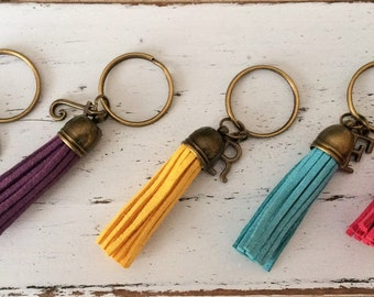 SUEDE TASSEL KEYCHAIN / Personalized Initial keychain / Suede Fringe Keyring / Gift Under 10 dollars / Stocking Stuffer / Letter and Tassel