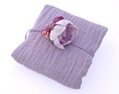 Lavender Cotton Cheesecloth Wrap and Silk Flower Headband for Newborn Photo Prop - Spring, Summer Photography Prop, Baby Shower Gift