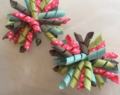 Fairy Wishes Set of Large Korker Bows, Girls, Toddlers, Baby, Hair Bows, Hair Accesories, Gray, light blue, sage green, pink, white dots