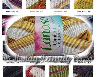 Bikini yarn swimwear Lanoso Comfort Stretch color. Elastic spring yarn. Spandex. Color variations. Swimwear yarn, hypoallergenic, DSH(H)
