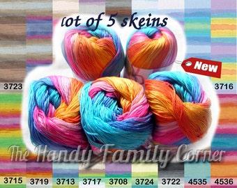 Batik designed cotton yarn Alize Miss Batik. 100% Mercerized Cotton. Multicolor. Colour of your choice. Set of 5 skeins Wholesale DSH