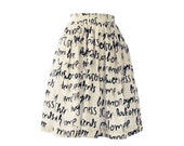 Black and White Grafitti Gathered Full Skirt Size Extra Small Size 2  Ready to Ship