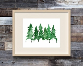 Northern Pines, Watercolor Trees, Watercolor Pine Trees, PNW Art, Woodsy Decor, Rustic Decor, Woodland Decor, Watercolor Print, Tree Prints