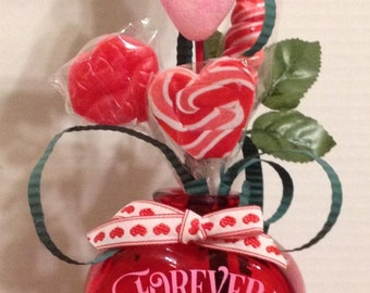 Sweetheart Candy Bouquet with Vase Personalized with FREE SHIPPING