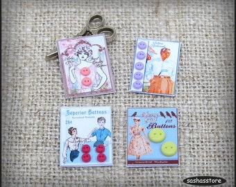 Dollhouse buttons on cards, 12th scale miniature sewing accessory