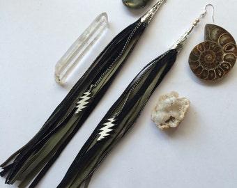 13 Point lightning bolt Grateful Dead inspired leather earrings