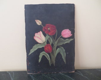 Vintage Oil Painting / Victorian Edwardian Tulips / 1890 to 1930 / 9 by 12