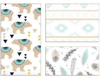 Design Your Own -Bears, Feathers, Aztec in gold, mint, grey and navy // Faux Glitter Bucks  Custom Nusery Bedding and Decor