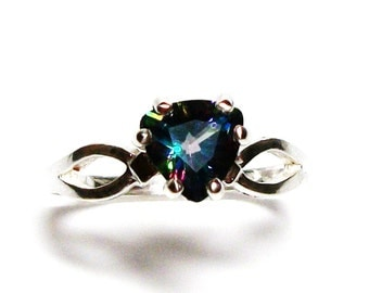 "Mystic topaz,  mystic topaz ring, birthstone ring, sweetheart ring, red blue purple, s 6 1/2       ""Bashful"""
