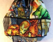 SassyCloth one size pocket diaper with Marvel comics heroes cotton print. Made to order.