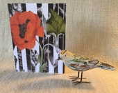 The Red Poppy takes center stage on this greeting card, reminding me of the Remembrance poppy, hand made, decoupage print card, any occasion