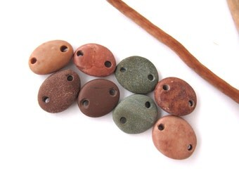Rock Beads Rock Jewelry Connectors Mediterranean Beach Stone Links River Stone Beads SPICY LINKS 17-18 mm