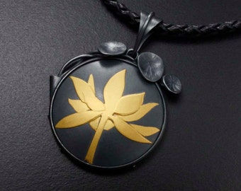 Gold Keum Boo necklace, lotus necklace, silver art pendant necklace