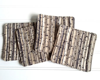 Fabric Coaster Set, Birch Trees Design, Quilted Mug Rugs, Black and White