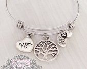 Mom Jewelry, Mom Gifts, Bracelet, BANGLE Bracelet, You are loved charm, Family Tree Charm, Gifts for Grandma, Mom Birthday Gift, Christmas