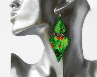 statement boho geometric earrings, silk earrings, diamonte, textile jewelery, green and orange, hippie earrings, upcycled earrings, festival