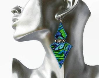 STATEMENT BOHO EARRINGS, silk earrings, festival jewellery, hippie jewellery, diamonte, textile jewelery, blue and green, geometric, diamond