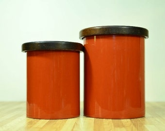 Copco Metal Canisters Walnut Wooden Lids Large and Medium Size from Original Retro Set Sam Mann Original