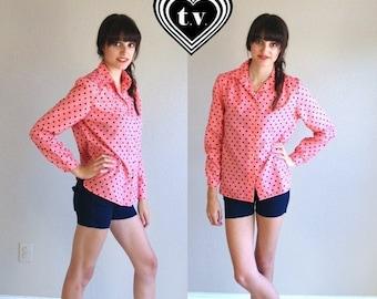 Half Off sale vtg 80s NEON CORAL black polka dot BLOUSE semi sheer Medium shirt top retro