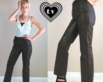 Half Off vtg 80s Brown High Waist BUTTERY LEATHER PANTS moto Small/27 trousers xs tight skinny motorcycle