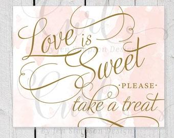 Love is Sweet Printable, Watercolor Sign, Dessert Bar Signage, Kraft Rustic Signage, Candy Bar, 8x10 Wedding Signage