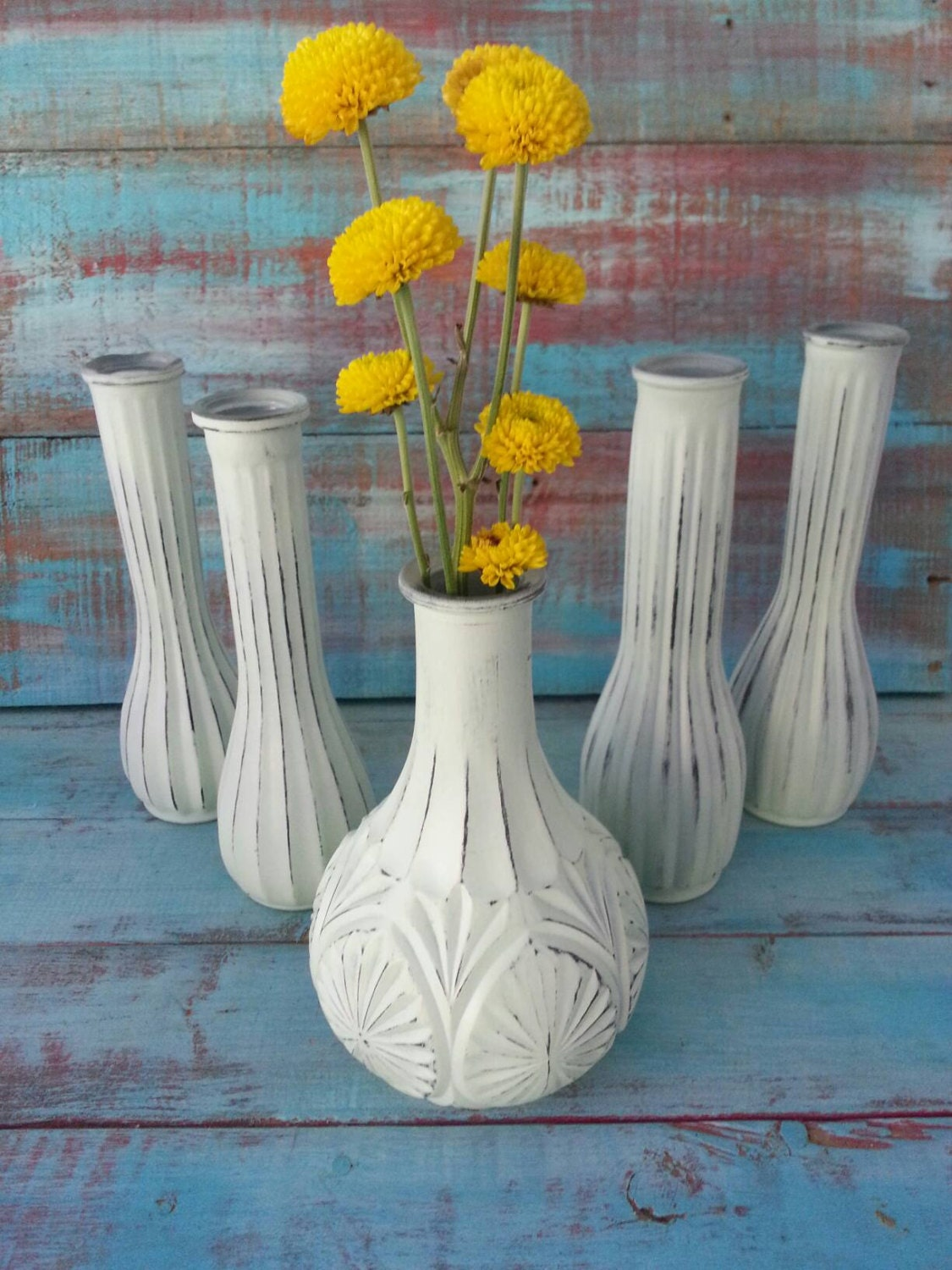 shabby chic wedding vases vintage bud vases painted bud vases. Black Bedroom Furniture Sets. Home Design Ideas