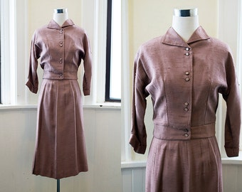 1940s Brown Linen Two Piece Skirt and Jacket Set